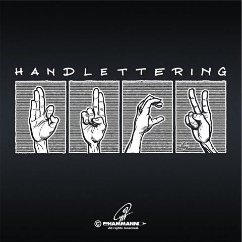 """Handlettering """"F*ck"""" in Gebärden-Alphabet – handgezeichnete Schriftzüge, Lettering, Ambigramme, Typographie, Typography, Kalligraphie, Calligraphy, Sprüche, Weisheiten, Wortspiele, Zitate"""