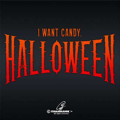 "Lettering ""I want candy – Halloween"""