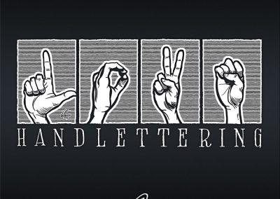 """Handlettering """"LOVE"""" in Gebärden-Alphabet"""