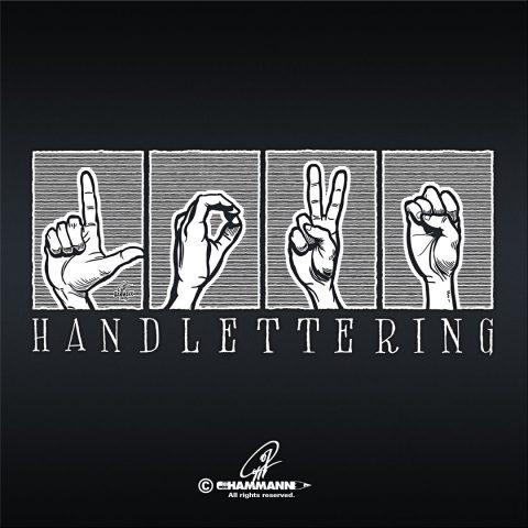 """Handlettering """"LOVE"""" in Gebärden-Alphabet – handgezeichnete Schriftzüge, Lettering, Ambigramme, Typographie, Typography, Kalligraphie, Calligraphy, Sprüche, Weisheiten, Wortspiele, Zitate"""