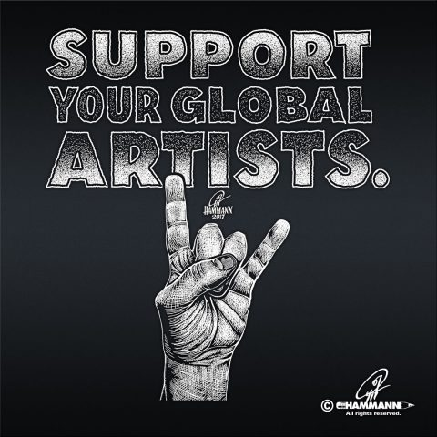 "Handlettering ""Support your global artists."""