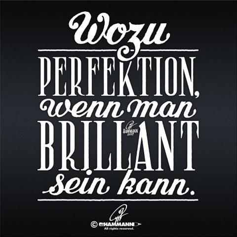 Handlettering Wozu Perfektion, wenn man brillant sein kann? – handgezeichnete Schriftzüge, Lettering, Ambigramme, Typographie, Typography, Kalligraphie, Calligraphy, Sprüche, Weisheiten, Wortspiele, Zitate