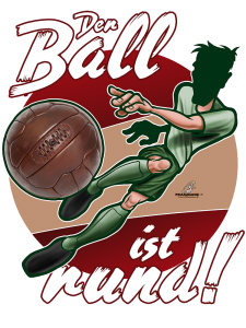 "Illustration Fußball vintage/retro ""Der Ball ist rund"" © Pit Hammann 