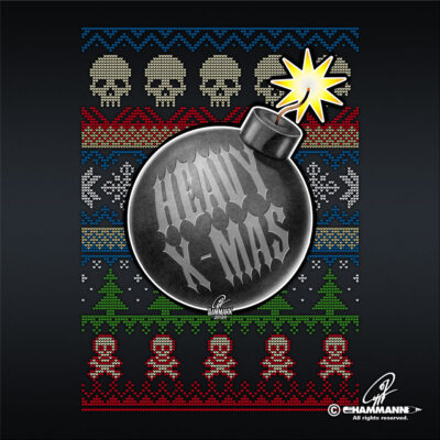 "Lettering + Cartoon ""Heavy X-Mas"" Christbaumkugel-Bombe"