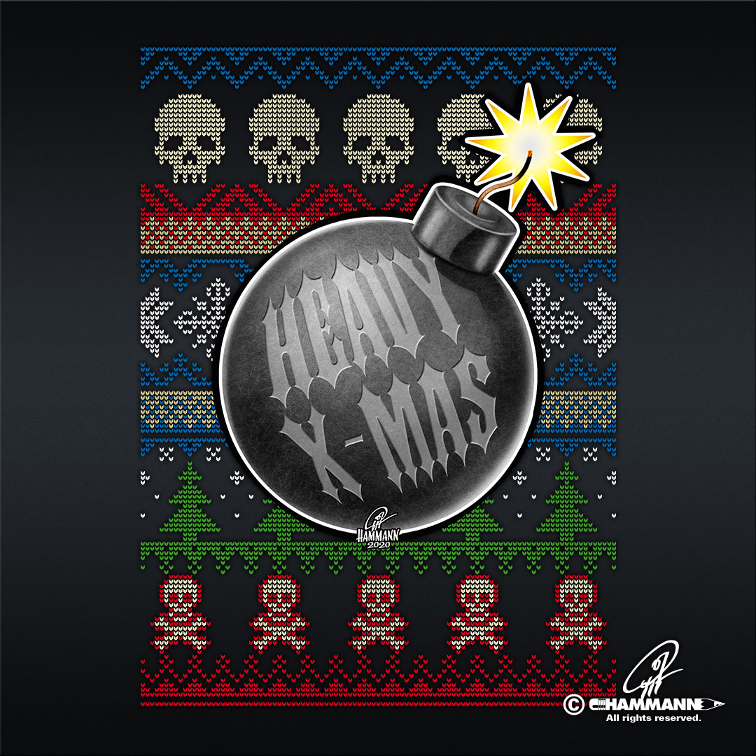 "Lettering + Cartoon ""Heavy X-Mas"" Christbaumkugel-Bombe © Pit Hammann 
