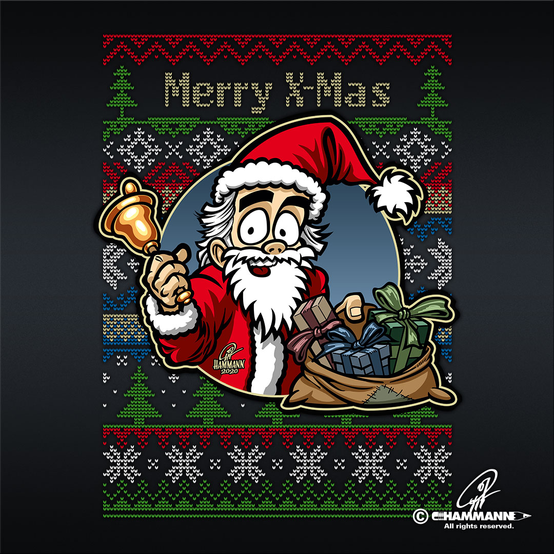 """Lettering + Cartoon """"Merry X-Mas"""" Weihnachtsmann © Pit Hammann 