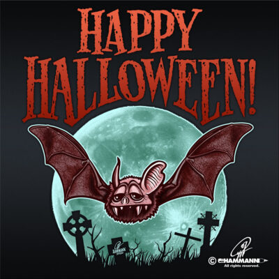 "Lettering + Cartoon ""Happy Halloween"" Fledermaus © Pit Hammann 