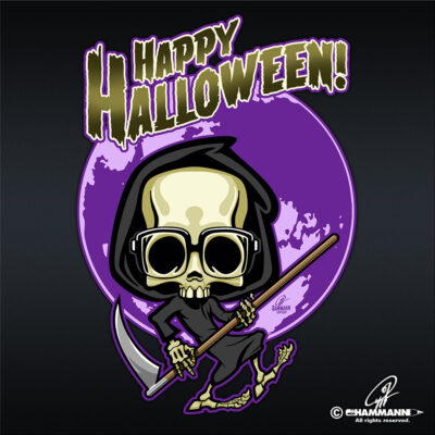 "Lettering + Cartoon ""Happy Halloween"" Klein Tod © Pit Hammann 