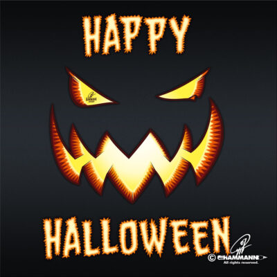 "Lettering + Cartoon ""Happy Halloween"" Jack O'Lantern © Pit Hammann 