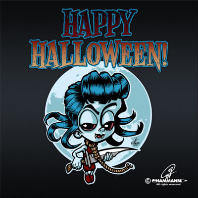 "Lettering + Cartoon ""Happy Halloween"" Strickliesel"