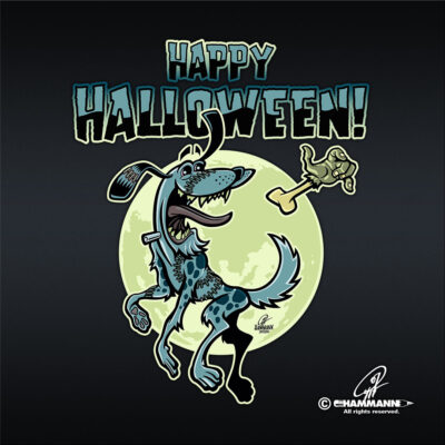 "Lettering + Cartoon ""Happy Halloween"" Frankenschnuff © Pit Hammann 