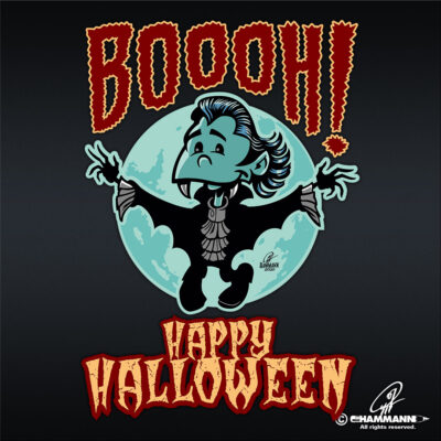 "Lettering + Cartoon ""Happy Halloween"" kleiner Vampir"
