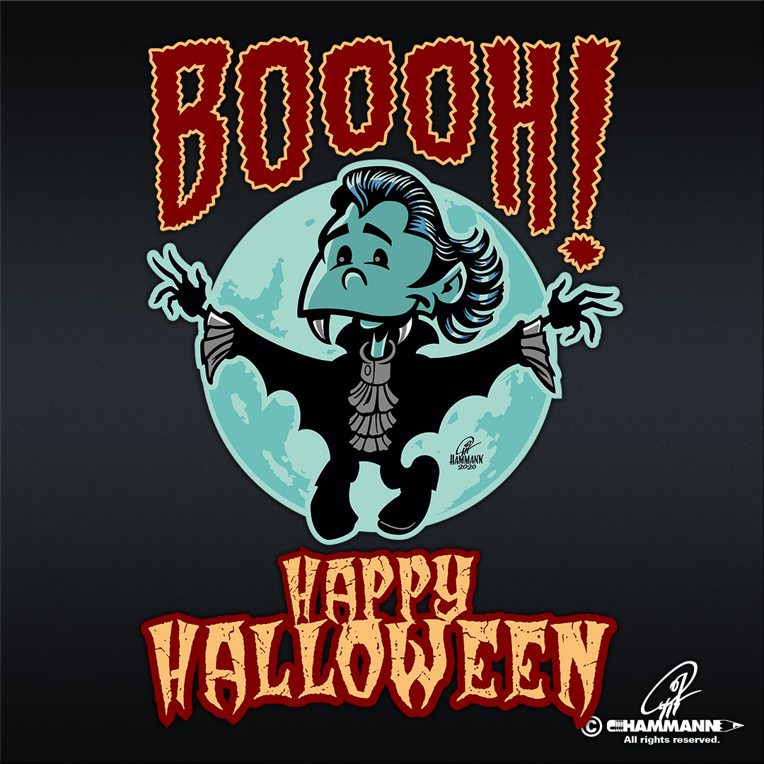 "Lettering + Cartoon ""Happy Halloween"" kleiner Vampir © Pit Hammann 