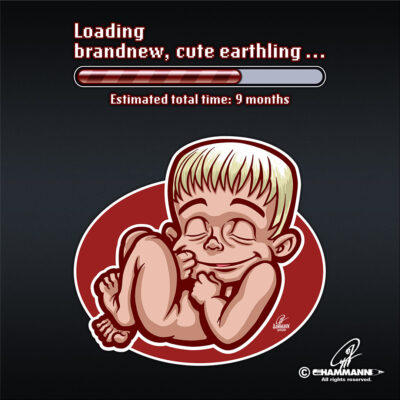"Lettering + Cartoon ""Loading brandnew, cute earthling …"""