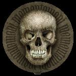 Freigestellt: Schädel 0001 mit Ambigramm Handlettering Memento mori (01, weiß) © Pit Hammann | all rights reserved